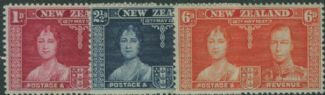 NZ SG599-601 1937 Coronation set of 3